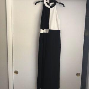 Tahari Black white cropped jumpsuit